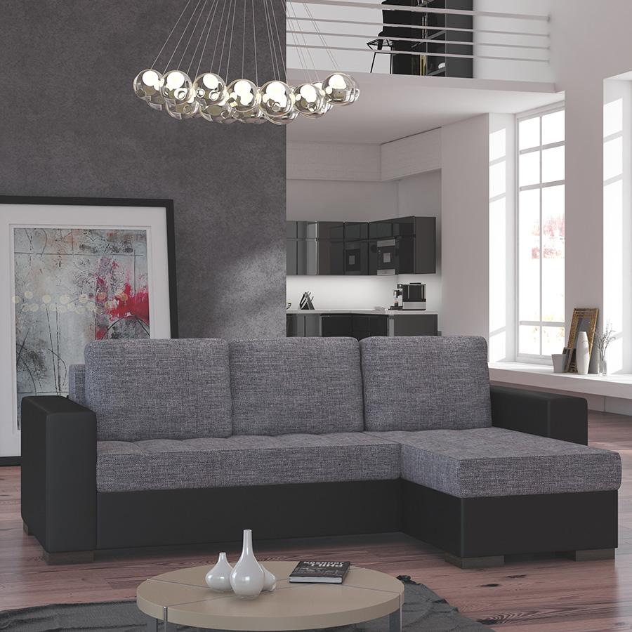 meuble de salon canapé canapé d angle gris noir SOFAMOBILI