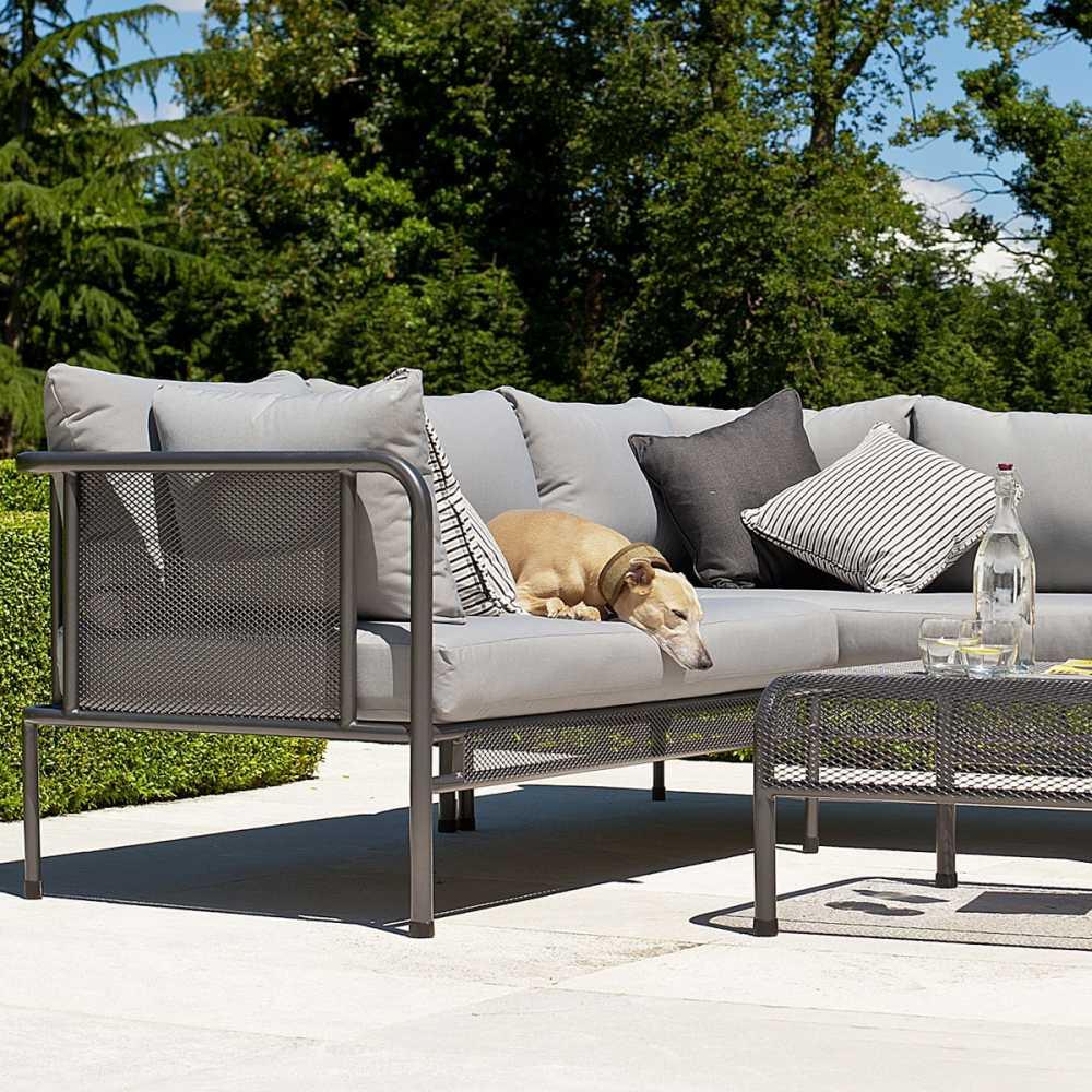 Canapé de jardin avec coussins haut de gamme en acier pour