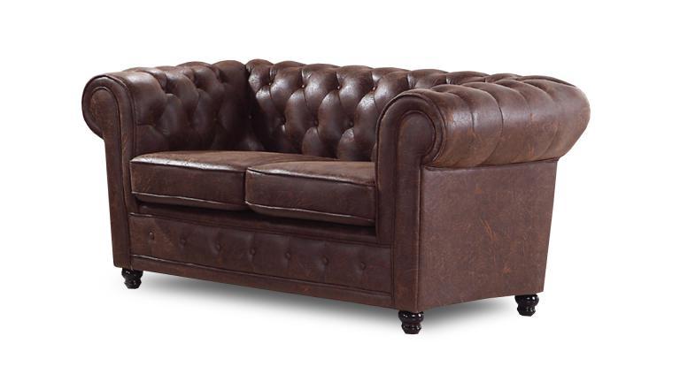 Canapé 2 places Liverpool en imitation cuir vieilli