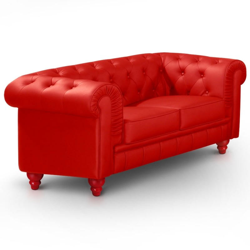 Canapé Chesterfield 2 places imitation cuir rouge