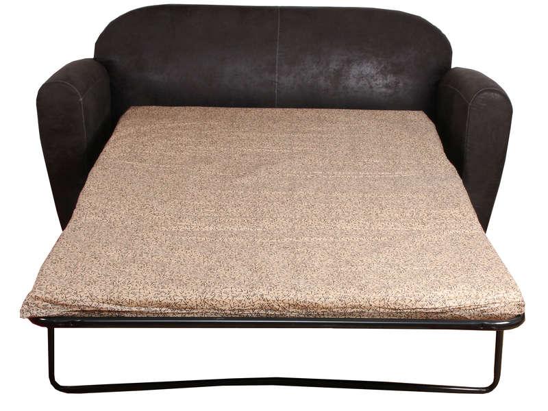 Canapé convertible 2 places en tissu imitation cuir