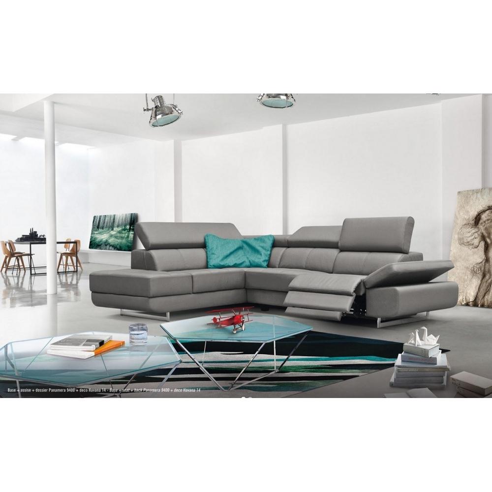 Canapé d angle en imitation cuir avec 1 relax électrique JOE