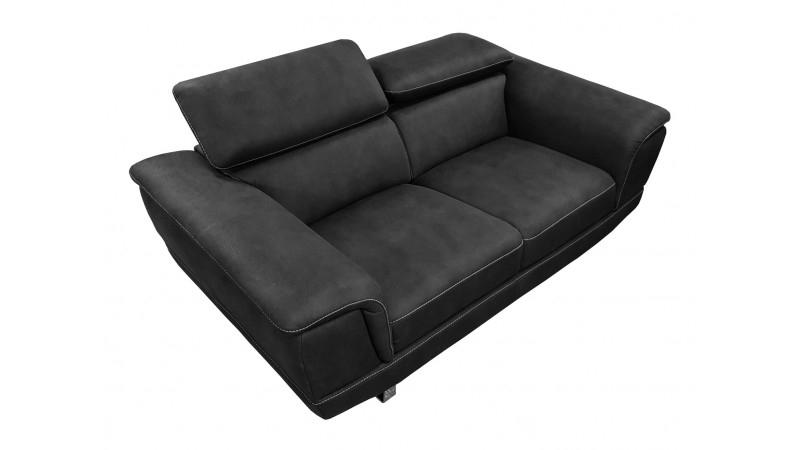 Canapé design 2 places noir en tissu imitation cuir Terzo