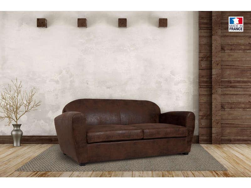 Canapé fixe 3 places en tissu imitation cuir vieilli