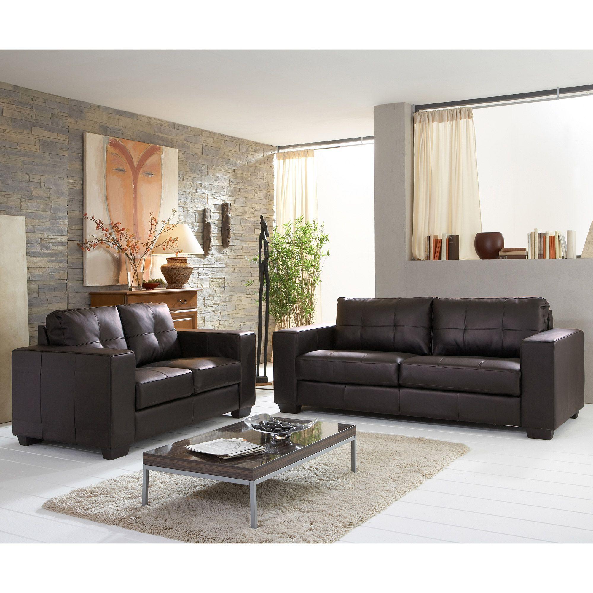 Canapé imitation cuir fixe 3 places 2 places STELLA