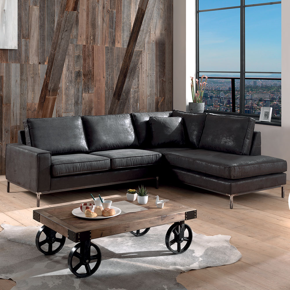 Le canapé d angle vintage en imitation cuir vieilli grand