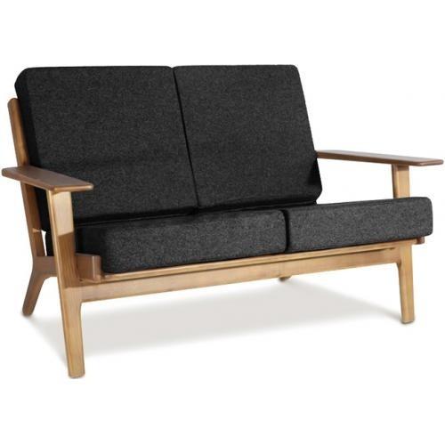 Canapé 2 places bois naturel et tissu noir Buton