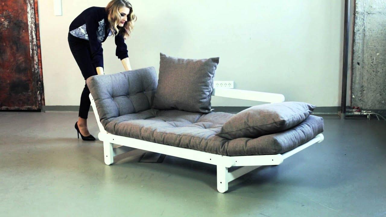 Canapé convertible en bois avec matelas futon BEAT