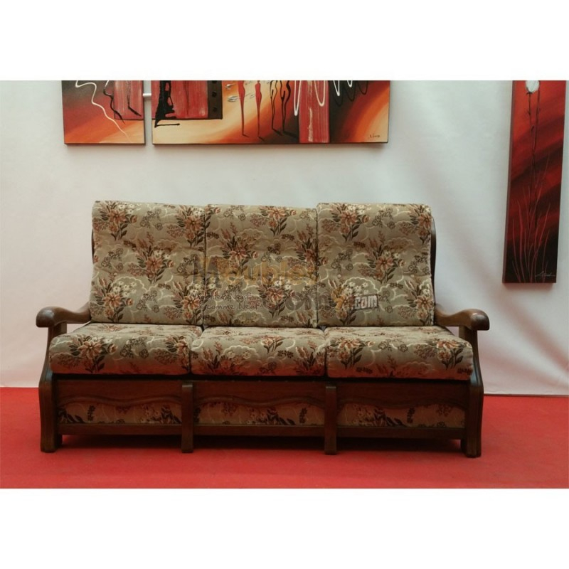Canapé lit 3 places tissu fleuri accoudoirs bois N131