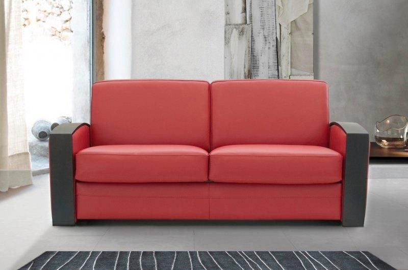 Canape lit systeme rapido molitor cuir eco rouge avec