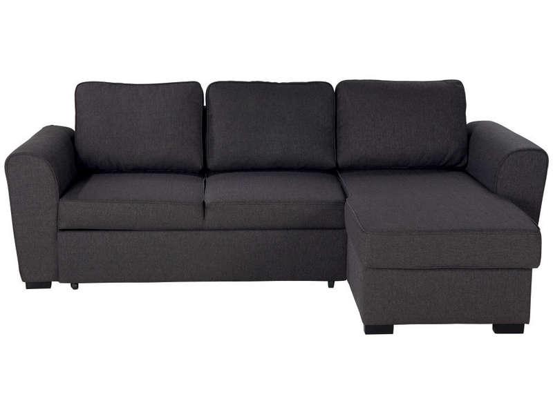 Canapé d angle convertible 4 places en tissu coffre de