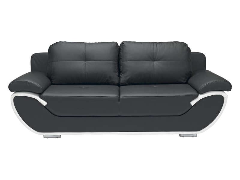 Canapé fixe convertible 3 places PACORA coloris noir et