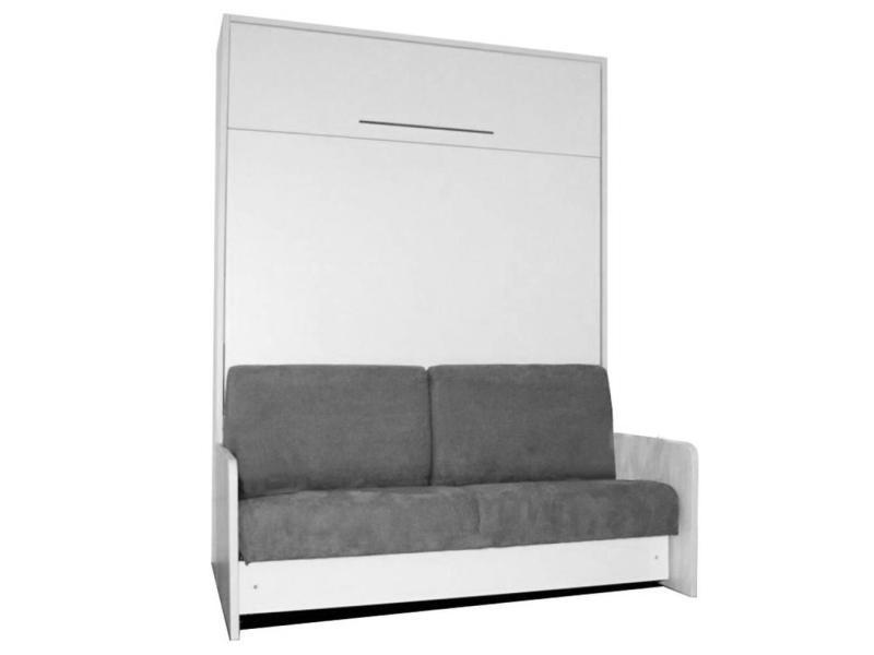 Space sofa fast armoire lit escamotable 140cm blanche avec