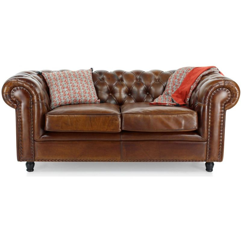 Canapé 2 places chesterfield en cuir marron vintage Saulaie