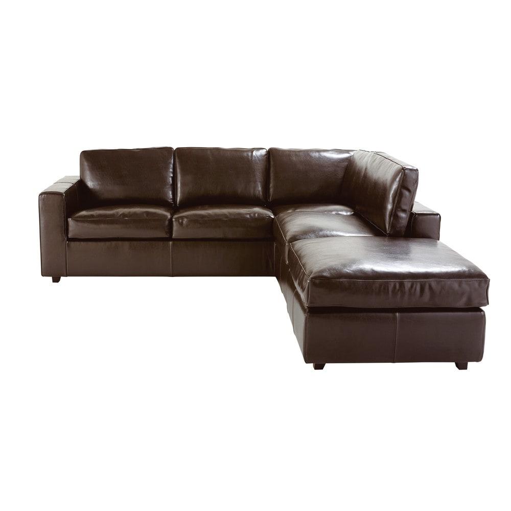 Canapé d angle convertible 5 places en croûte de cuir