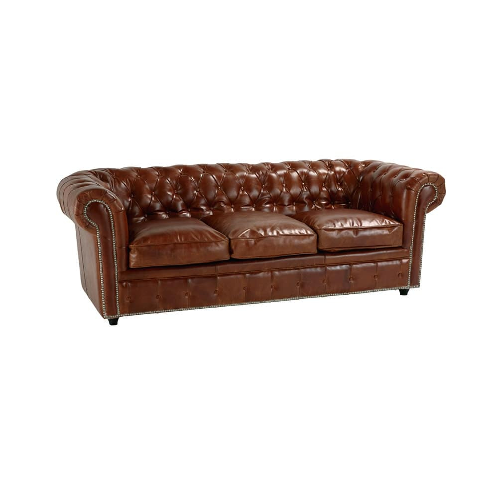 Canapé lit 3 places en cuir marron Chesterfield