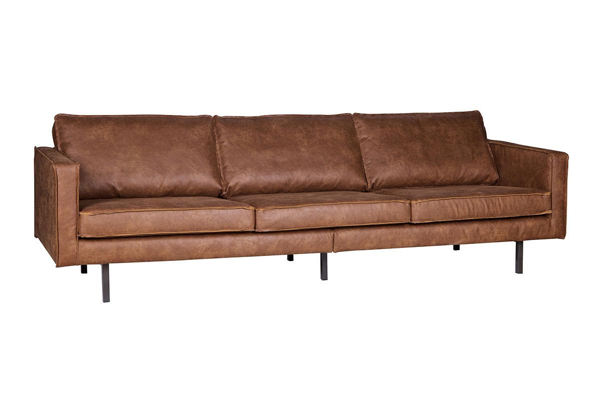 Canapé vintage cuir marron clair 3 places ASPEN cuir