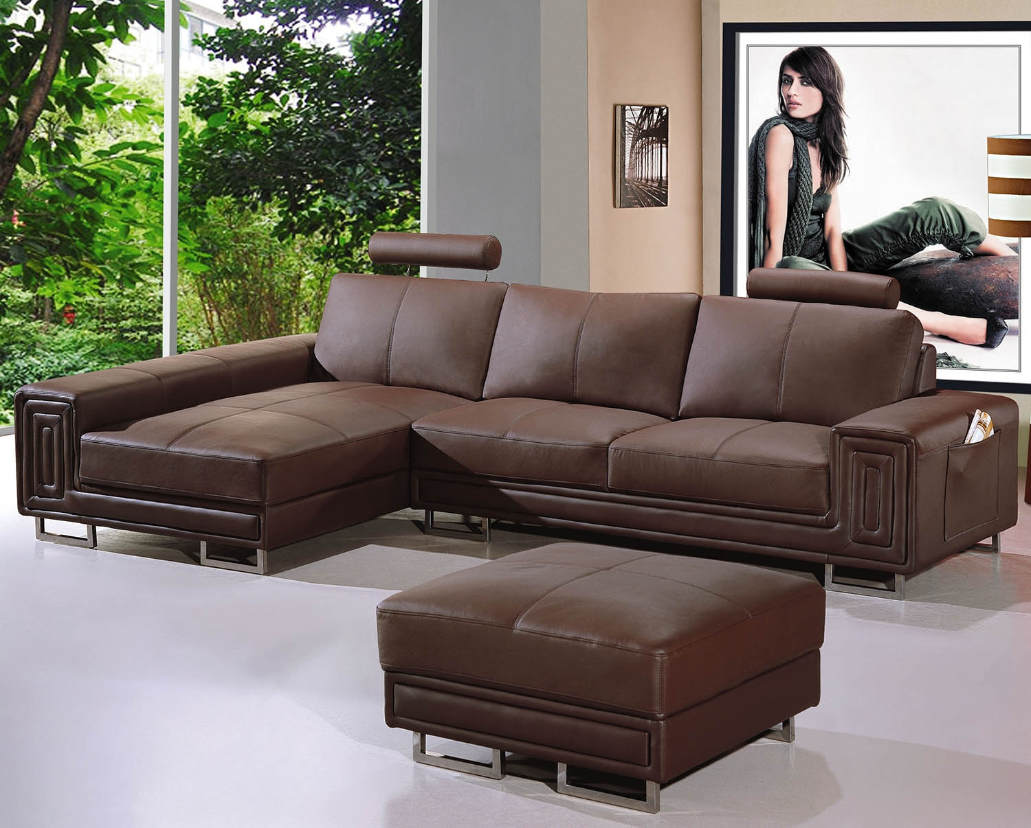 DECO IN PARIS Canape cuir d angle marron tetieres relax