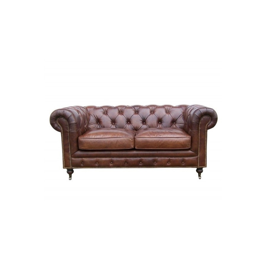 Le canapé chesterfield en cuir marron 2 places