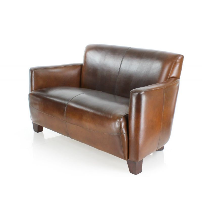 Canapé 2 places club cuir marron vintage