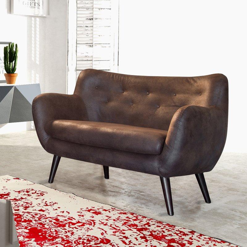 Canapé 2 places esprit vintage marron ALPHA