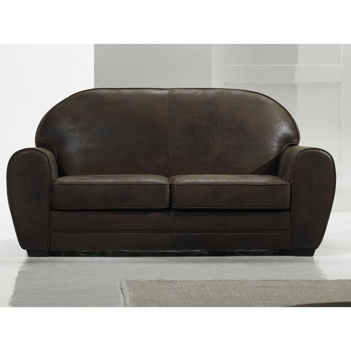 Canapé aspect cuir 2 places Coloris marron Achat