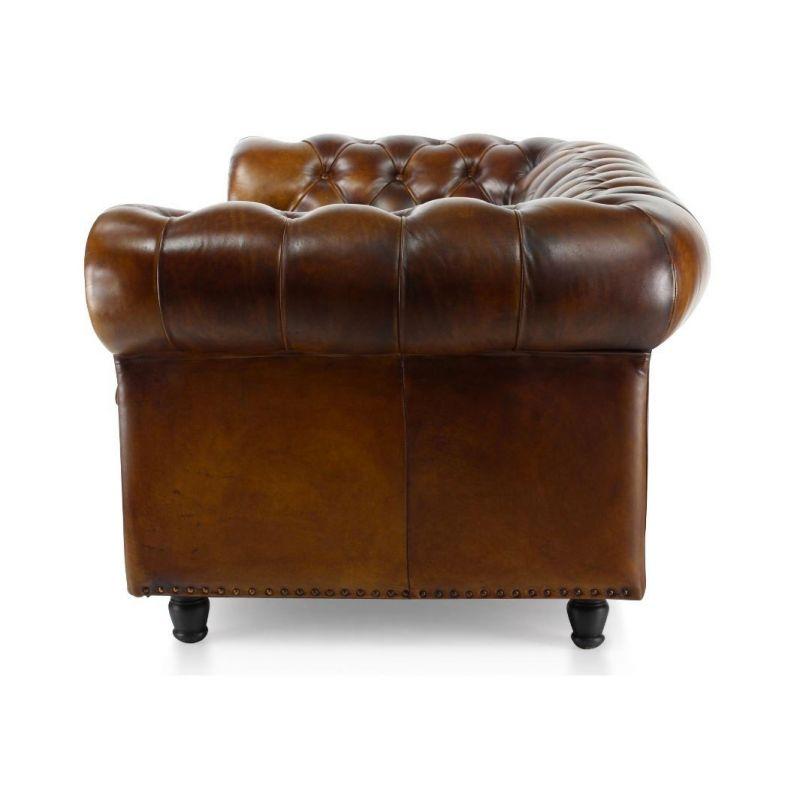 Canapé chesterfield cuir marron vintage