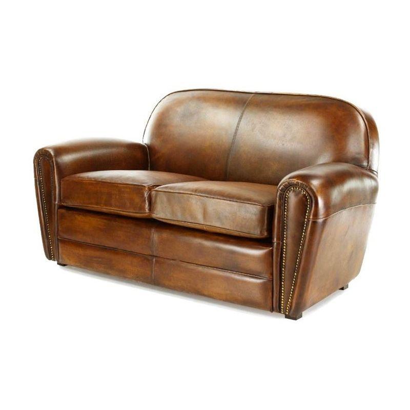 Canapé club cuir marron vintage 2 places