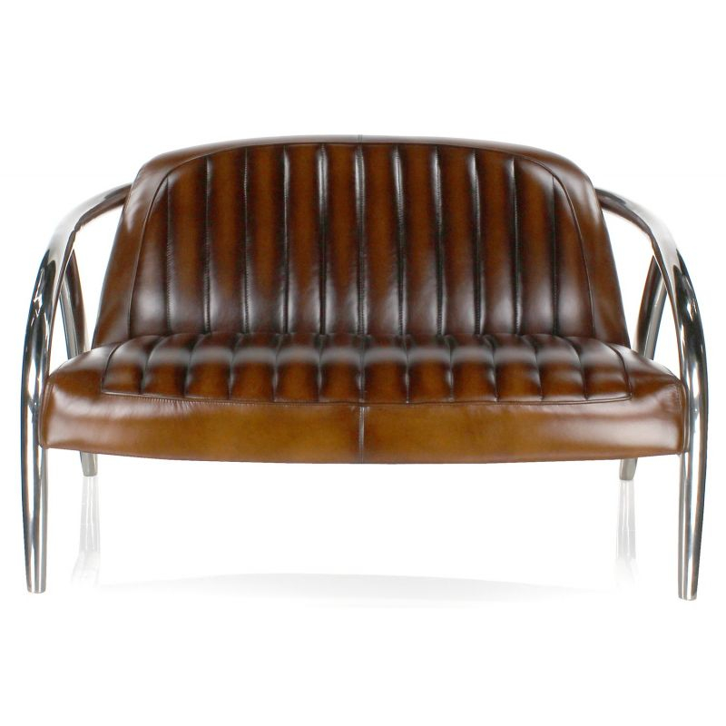 Canapé cuir marron vintage et inox Triomphe Saulaie
