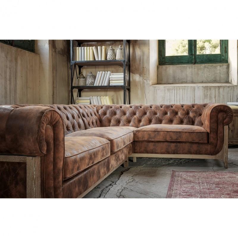 Canapé d angle vintage cuir marron et pieds frêne massif