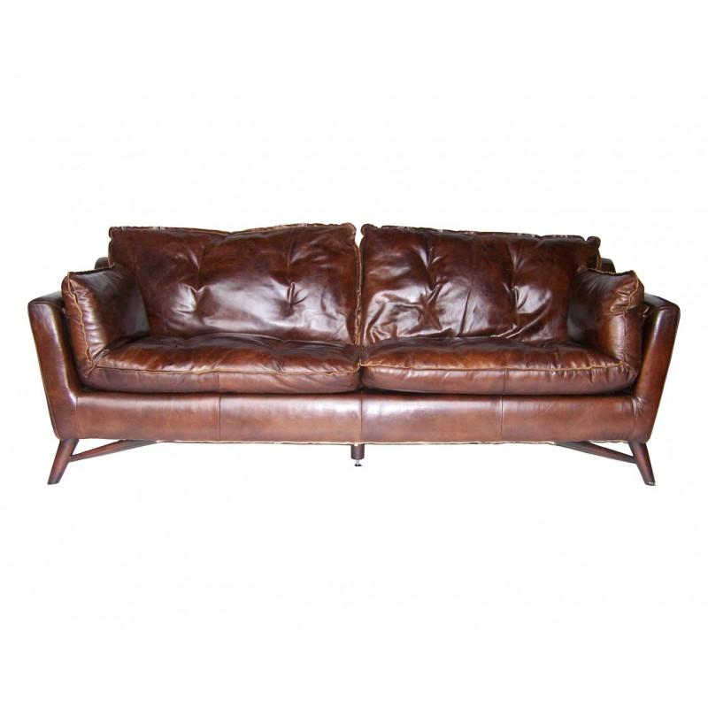 Canapé marron en cuir vintage patiné design trois places
