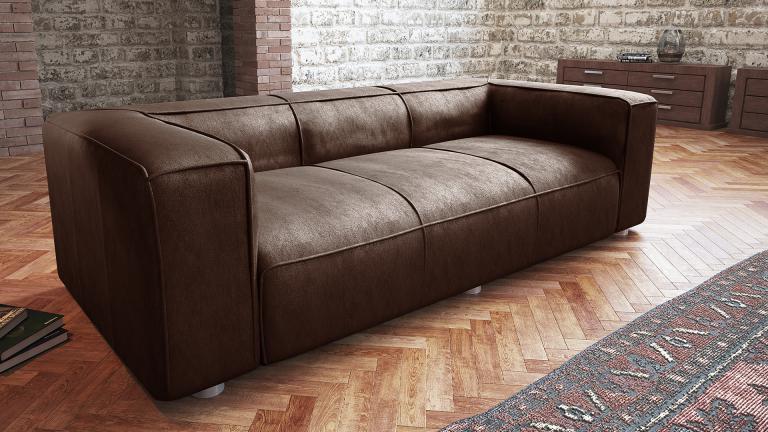 Canapé retro Morys 3 5 places aspect cuir vieilli vintage