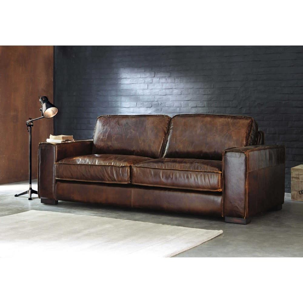 Canapé vintage 3 places en cuir marron Colonel