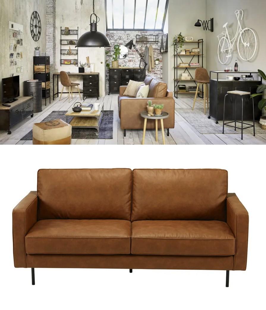 Un canapé marron vintage tendance pour le salon NuageDeco