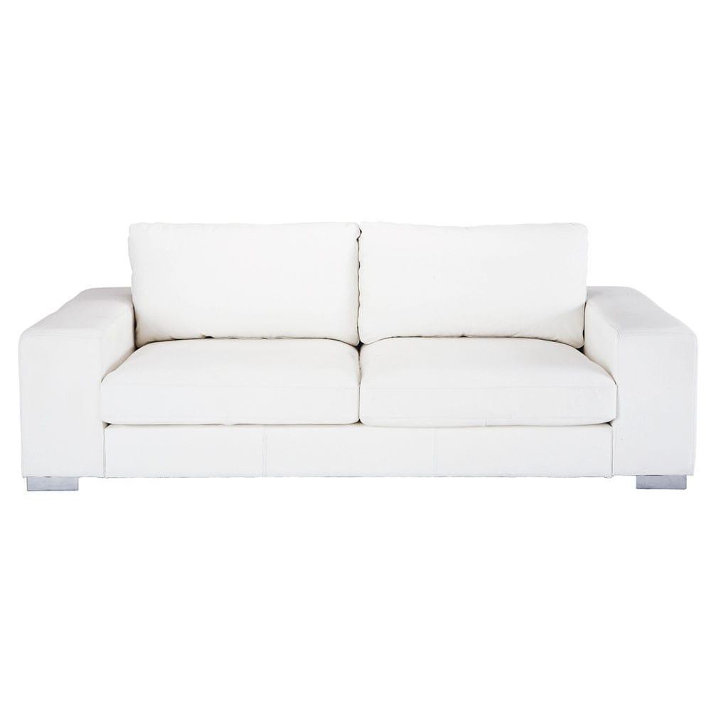 Canapé 3 4 places en cuir blanc New York