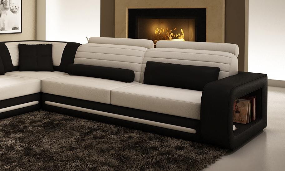 DECO IN PARIS Canape d angle cuir new york blanc et noir
