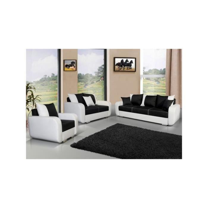 Canapé 3 2 1 avec fauteuil CALYPSO noir et blanc Achat