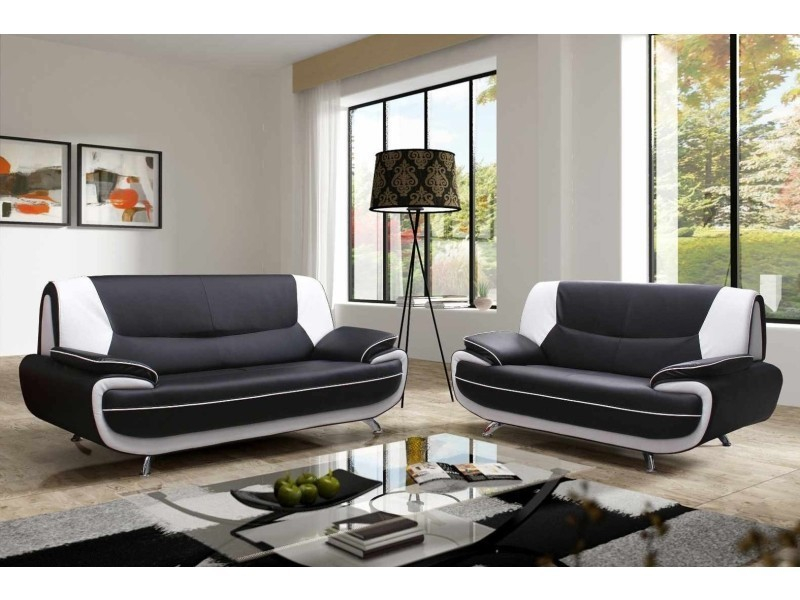 Canapé 3 2 places design noir et blanc marita Vente de