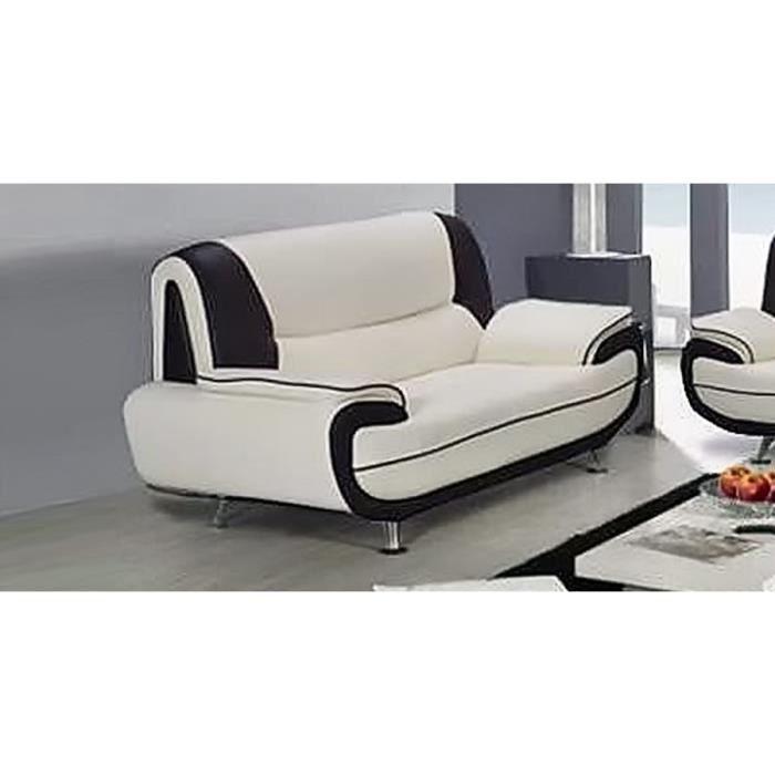 Canapé 3 places blanc et noir design ne simili cuir