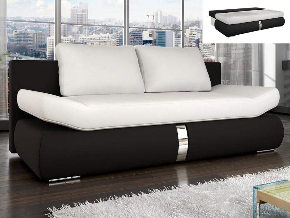 Canapé convertible en simili blanc et noir JADEN