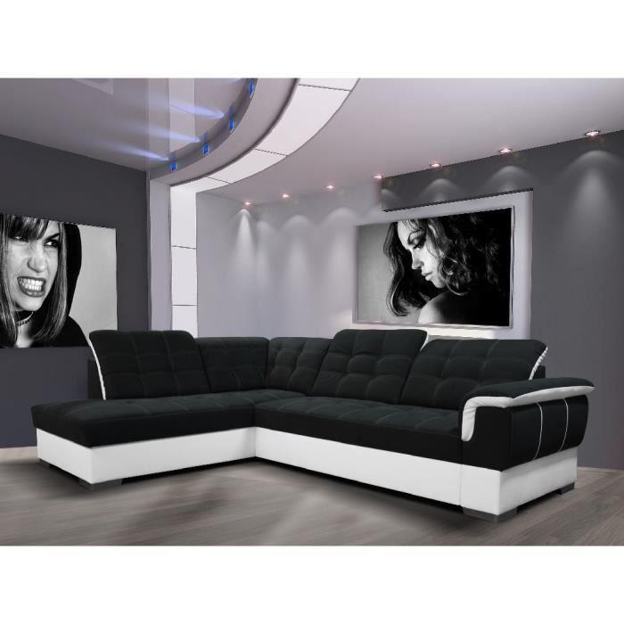 Canapé d angle convertible Clara noir et blanc Agnle