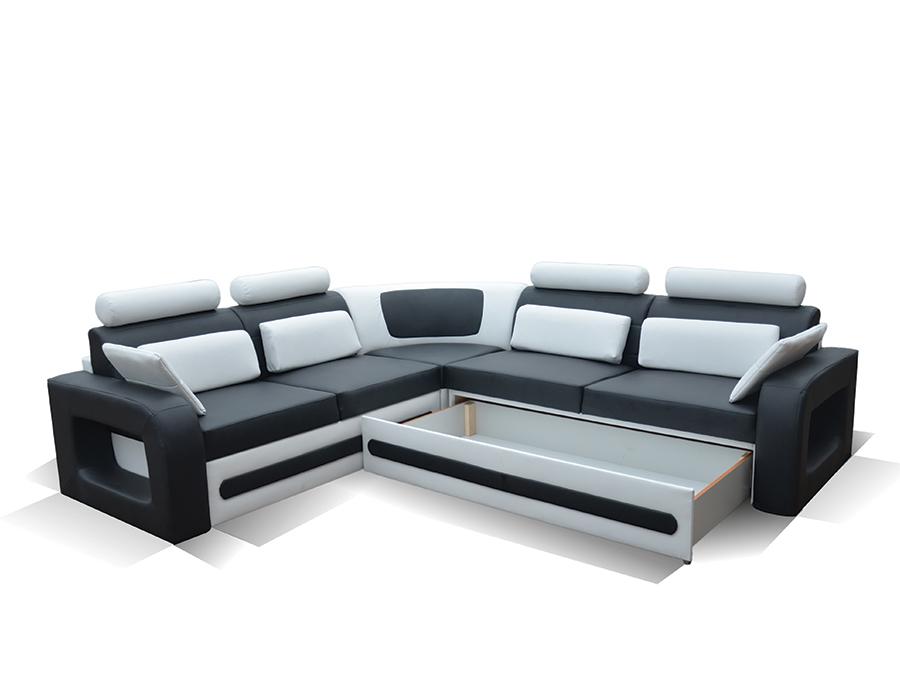 Canapé d angle convertible noir et blanc avec coffre AGLIBO
