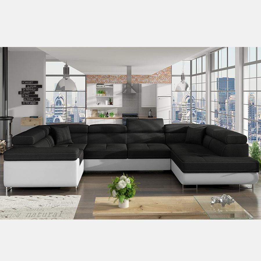 Canapé d angle convertible pas cher canapé noir et blanc