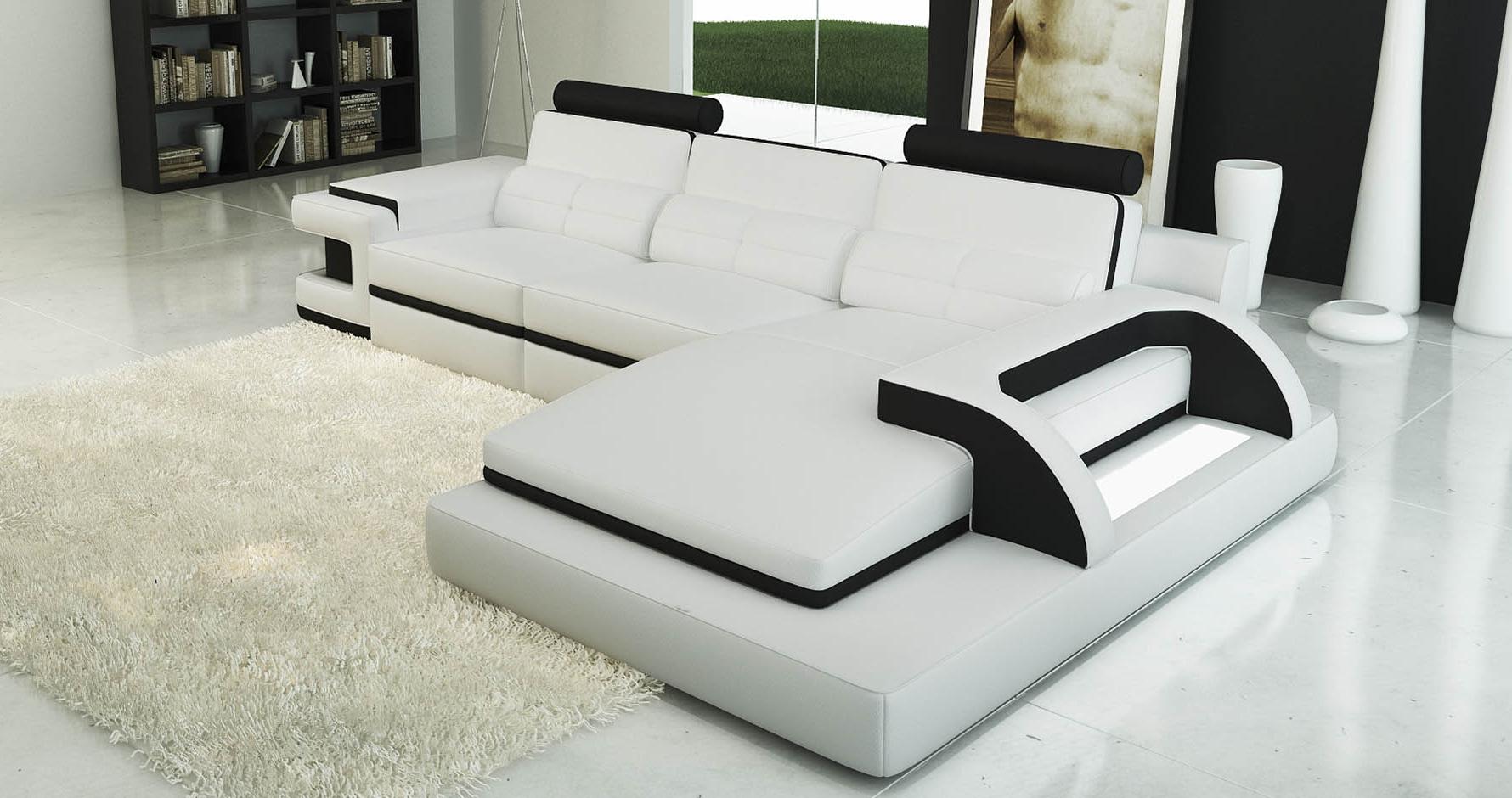 DECO IN PARIS Canape d angle cuir blanc et noir design