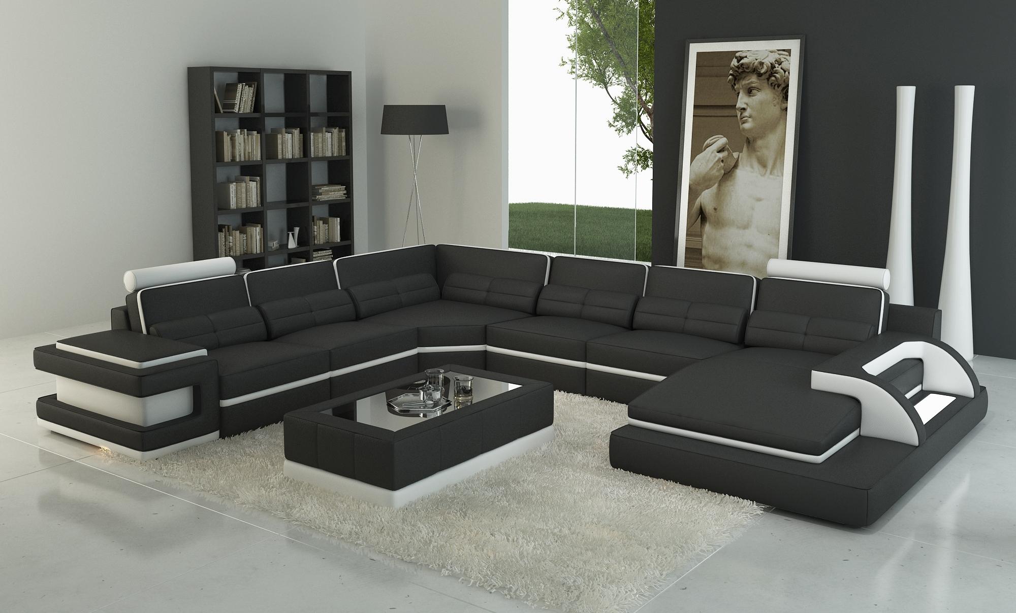 DECO IN PARIS Canape panoramique cuir noir et blanc