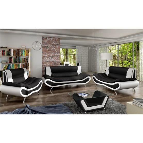 Ensemble de canapé design 3 2 Ori noir et blanc Achat