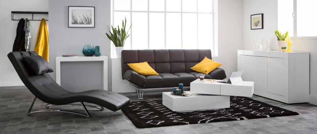 Canapé convertible 3 places en cuir noir MANHATTAN cuir