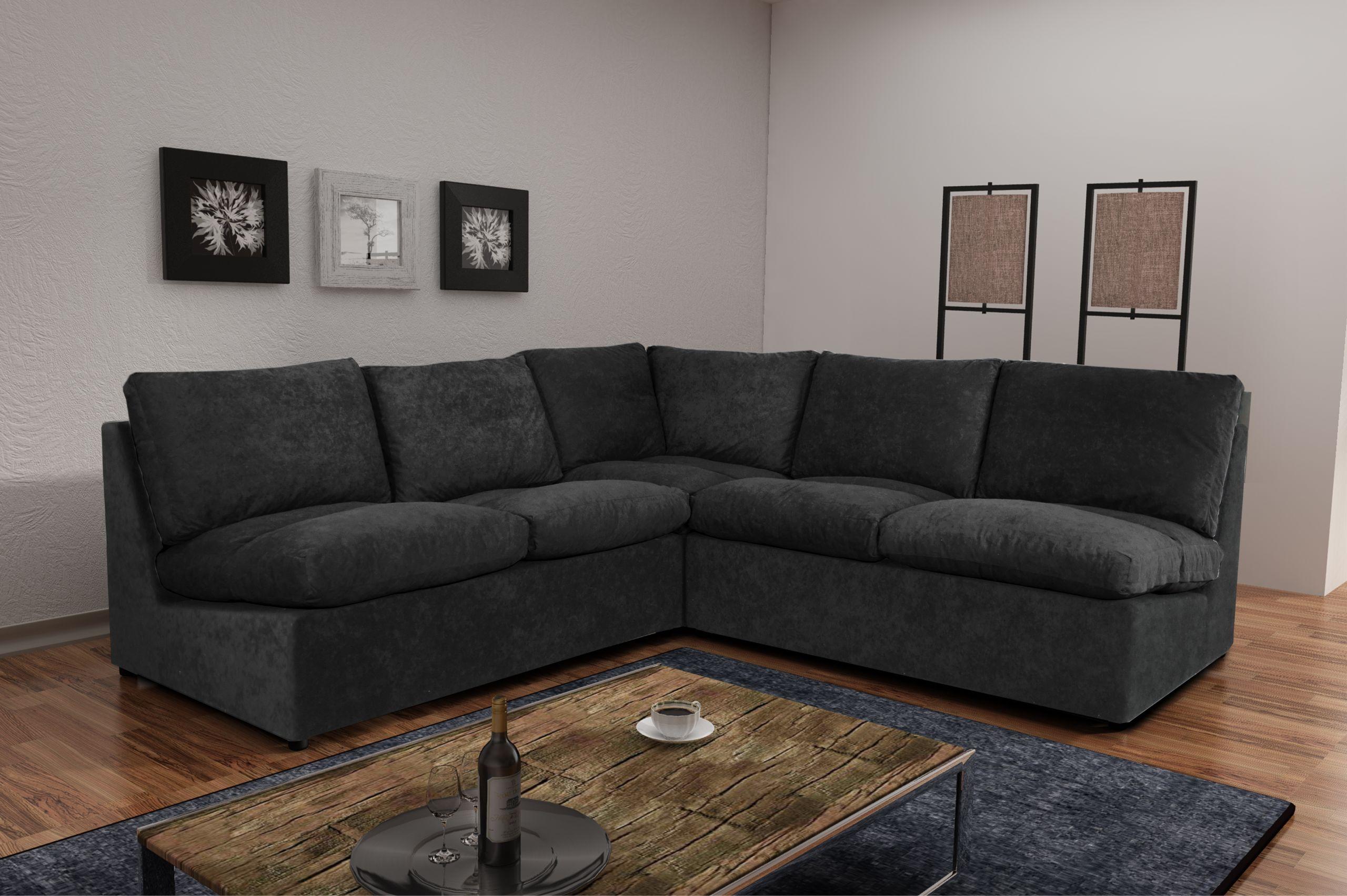 Canapé Avanti noir 6 places modulable canapé sofa divan