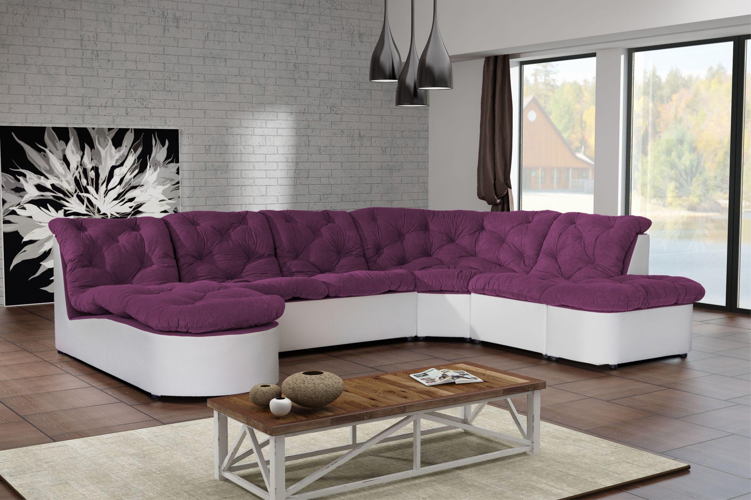 Canapé clac d angle panoramique prune PU blanc sofa divan