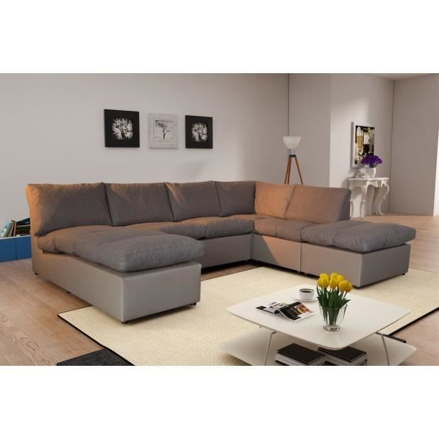 Canapé d angle modulable Avanti taupe panoramique Achat